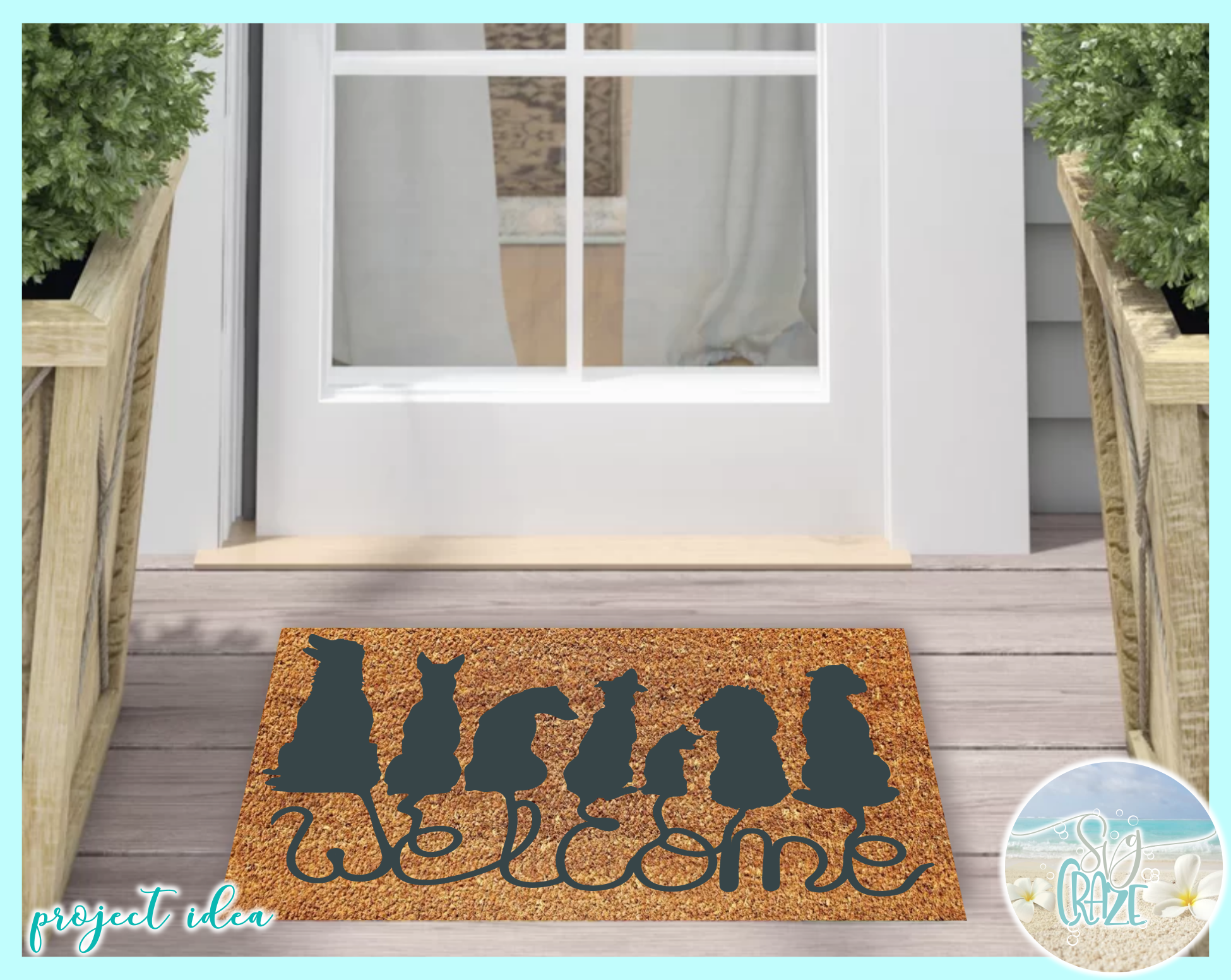 Dogs Welcome Coir Door Mat Design Svg Dxf Eps Png Pdf Files example image 2