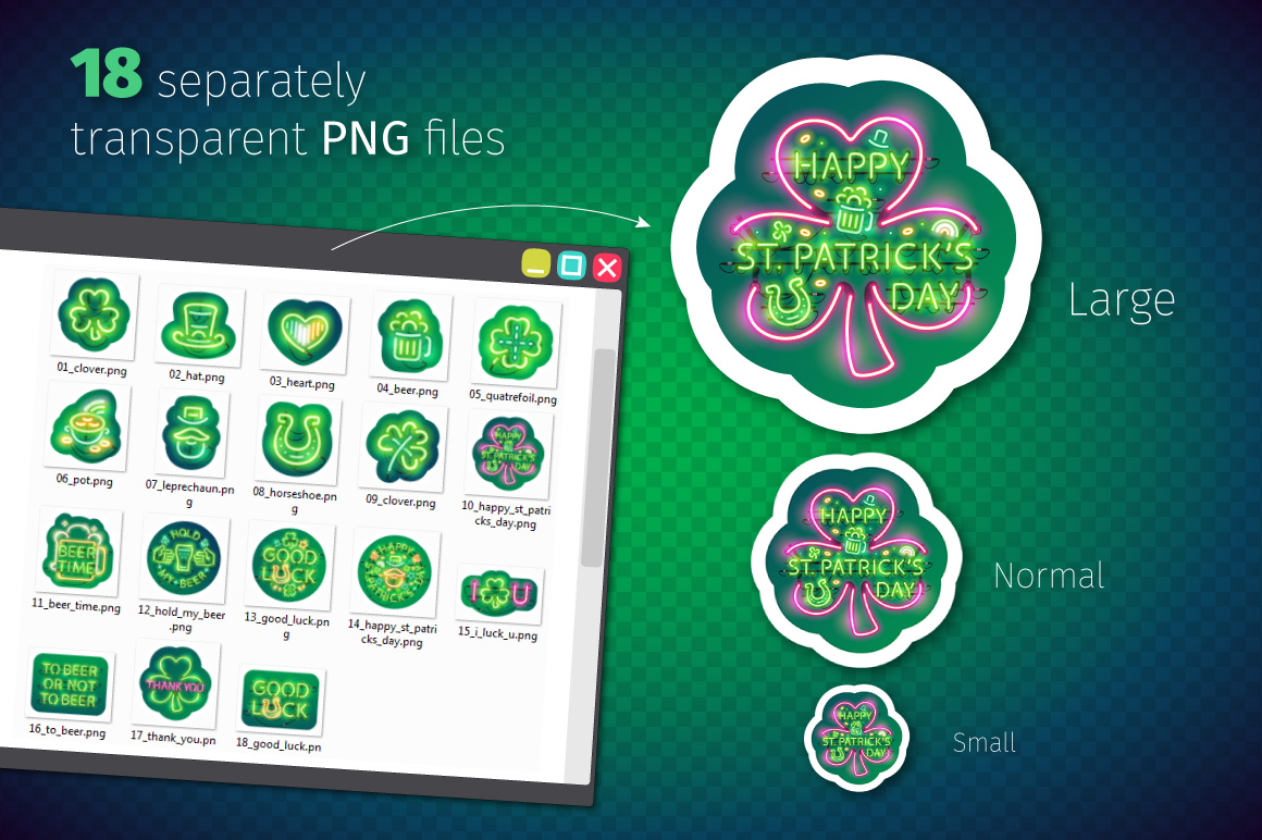 Neon St Patricks Day Sticker Pack example image 5