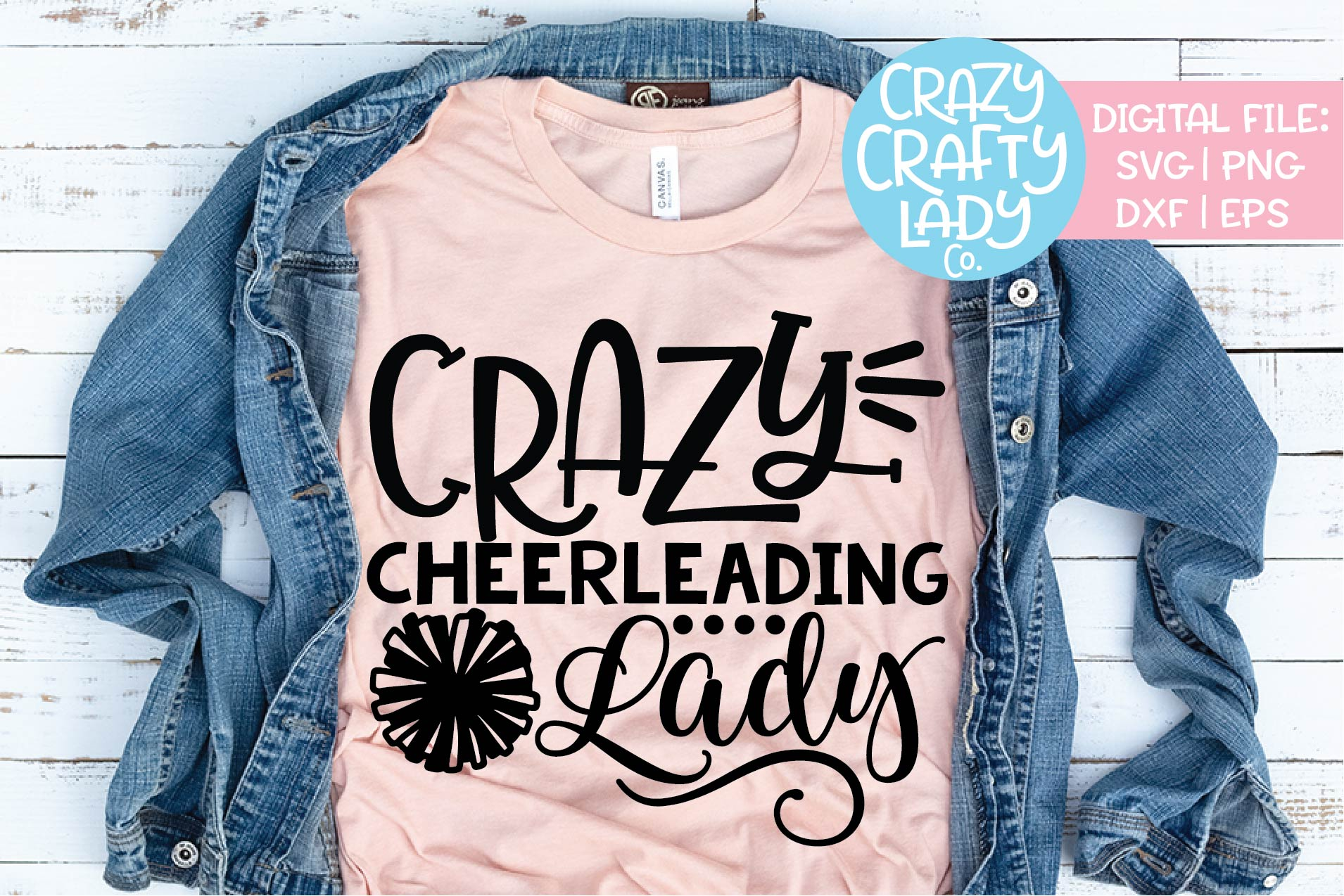 Crazy Cheerleading Lady Cheerleader SVG DXF EPS PNG Cut File example image 1