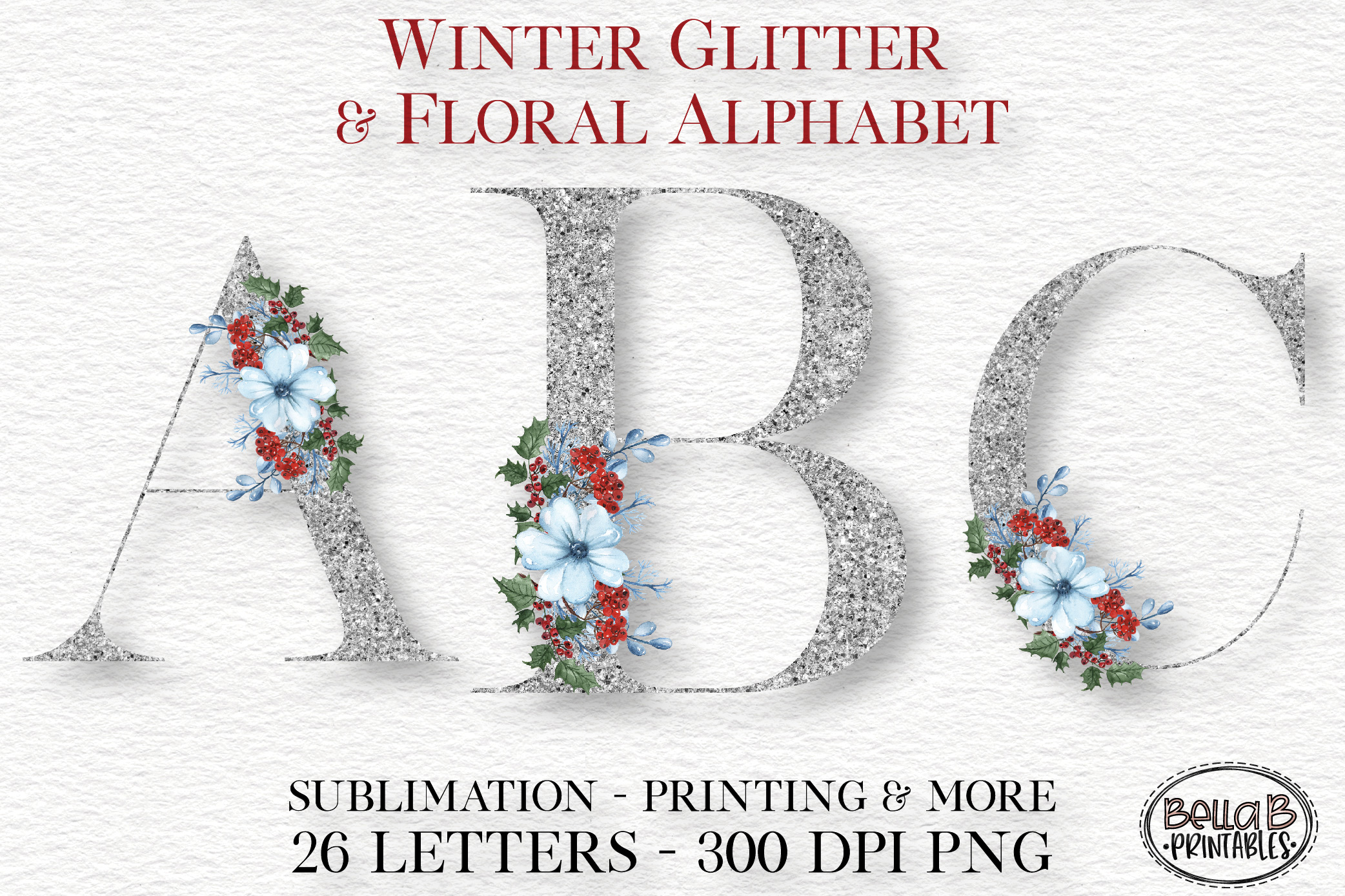 Winter Glitter Floral Alphabet Set, Sublimation Alphabet example image 1