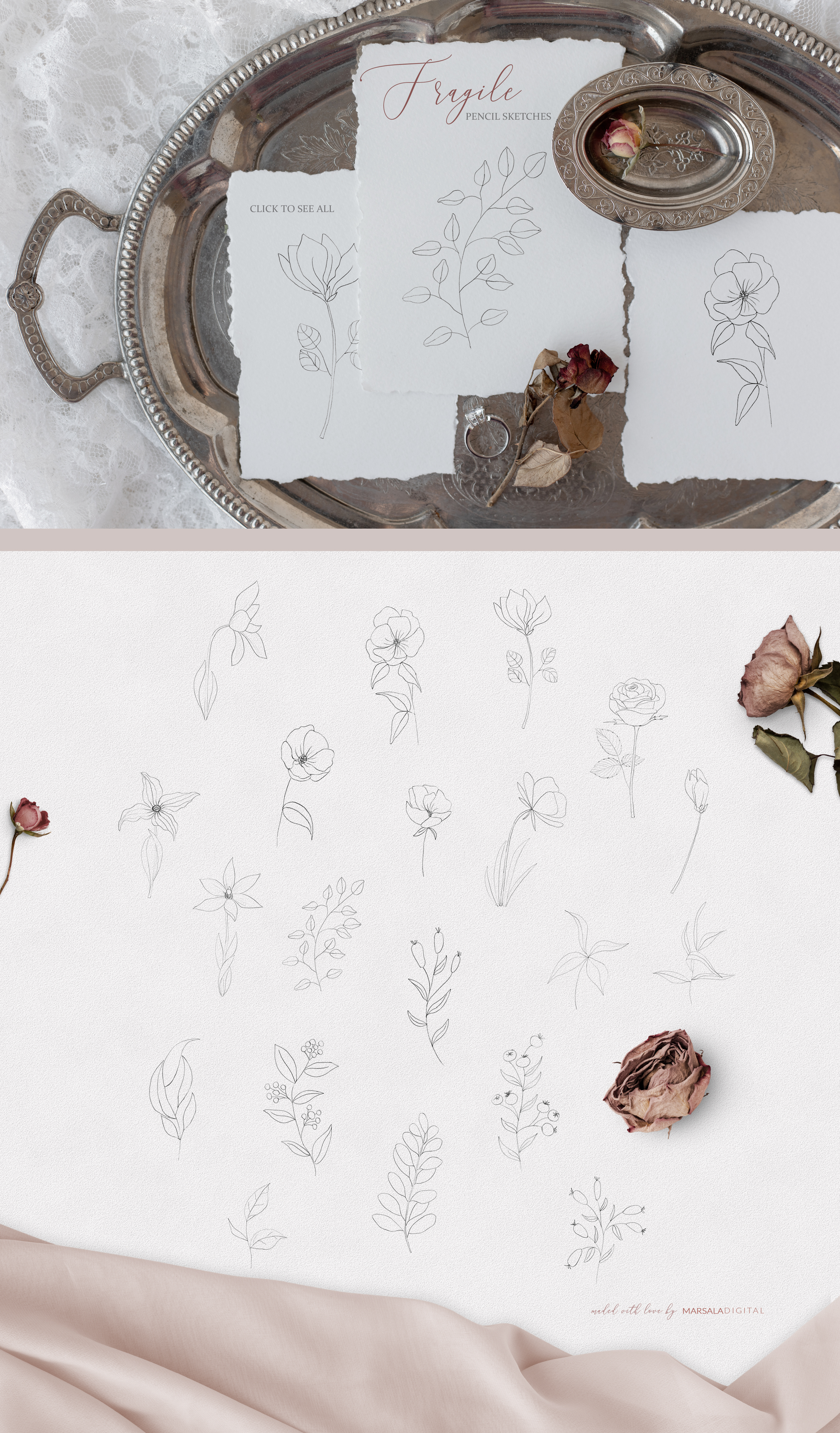 Fine Art Pencil Sketch Florals, Gold Brush Strokes, Textures example image 2