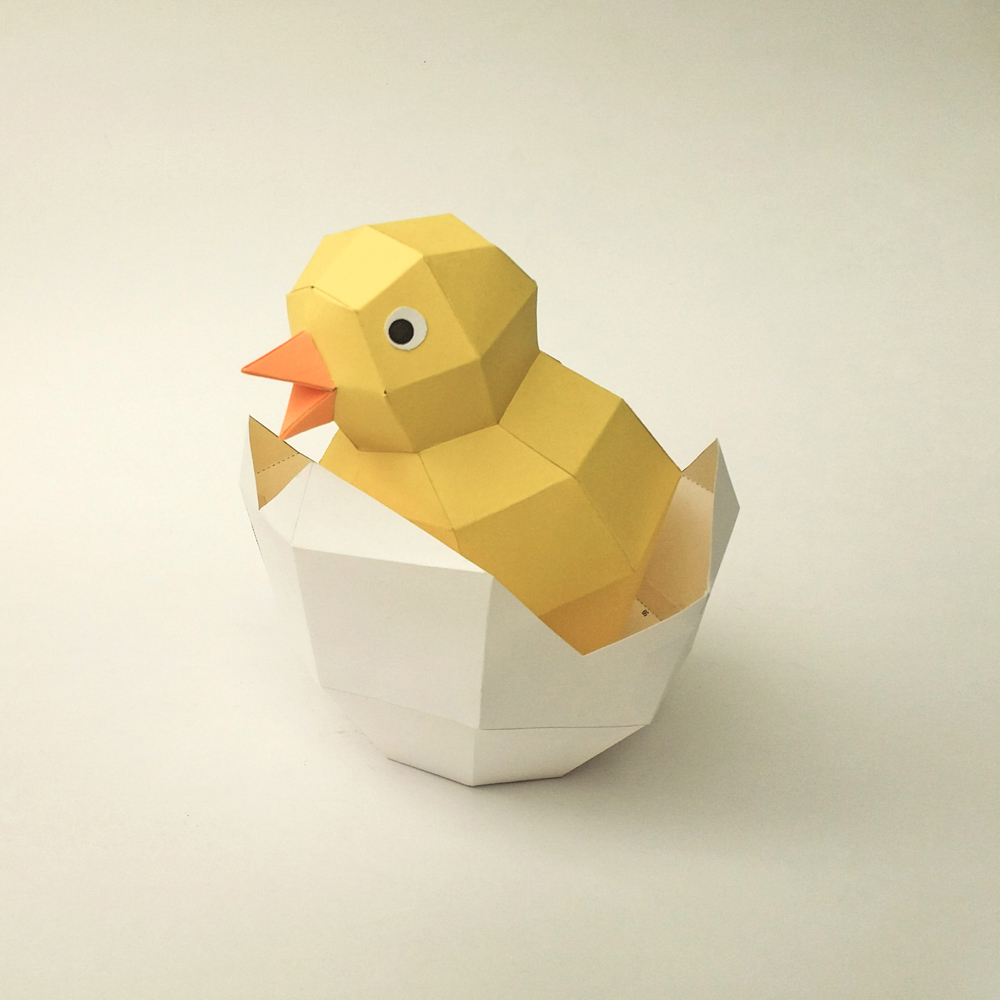 DIY Chick in egg - 3d papercraft example image 2