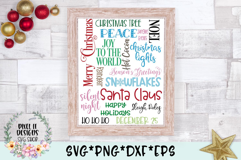 Christmas Subway Word Art SVG Cut File example image 1