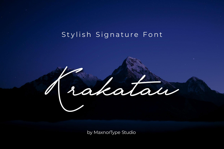 Krakatau Monoline Signature Font example image 1