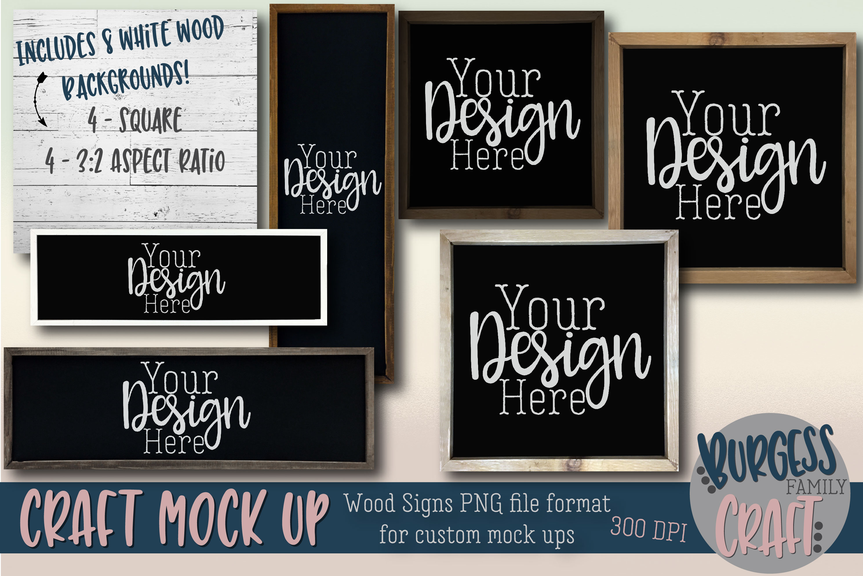Wooden frame sign custom craft mock up Bundle | PNG 300 DPI example image 1