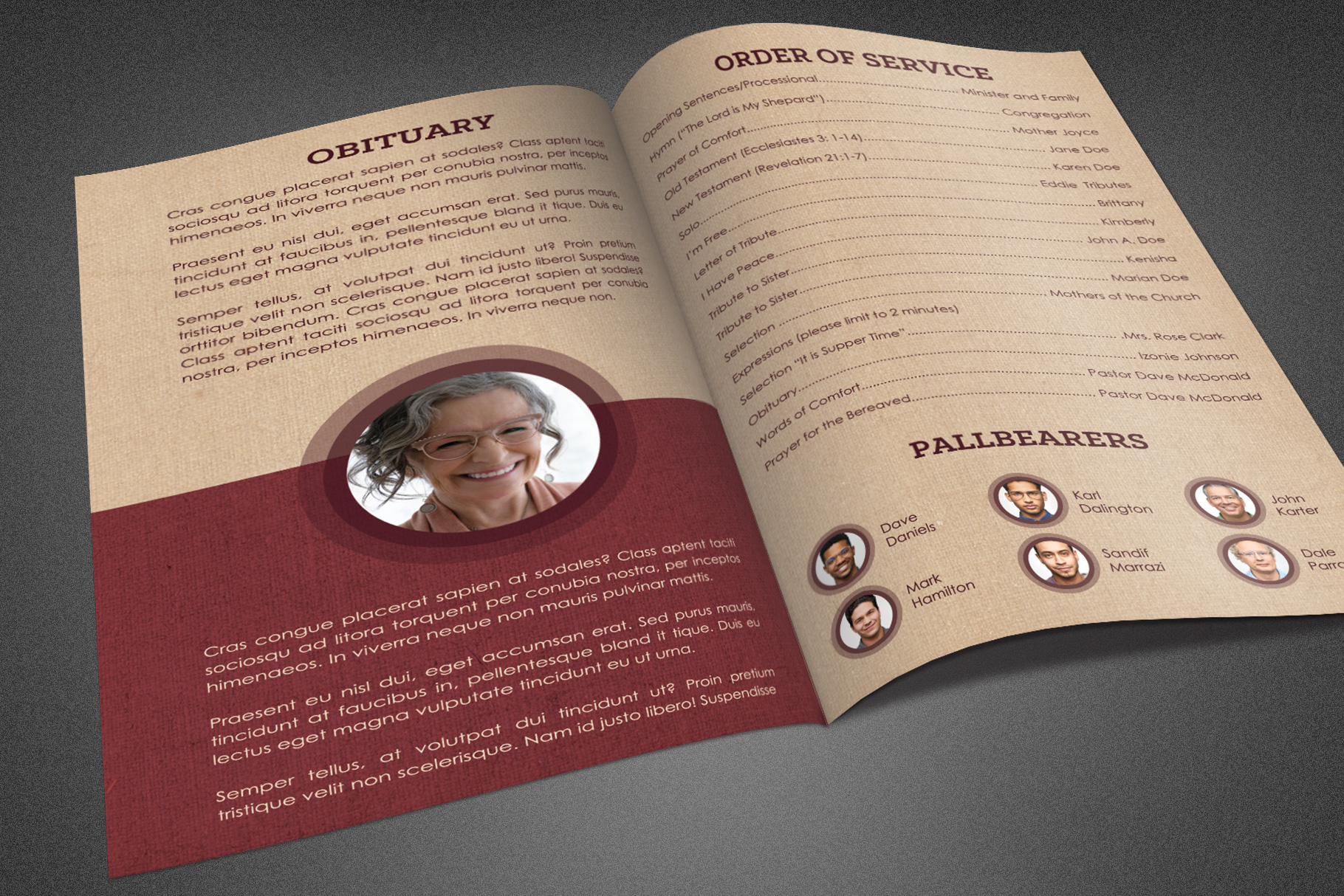 Cherished Funeral Program Template example image 3