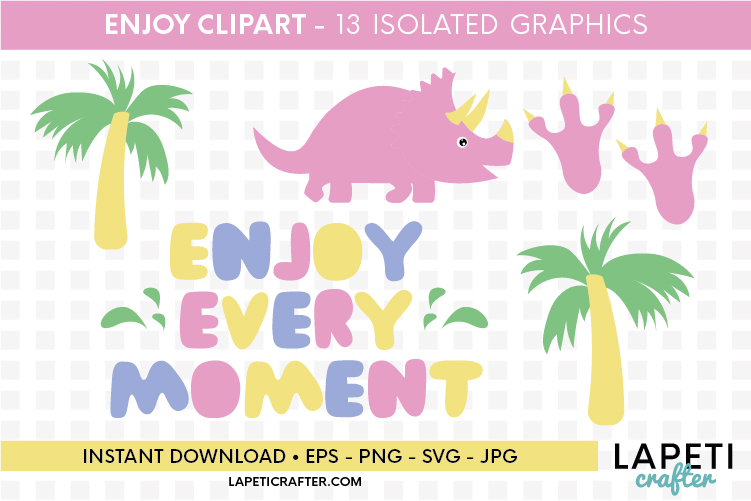 Enjoy every moment printable quote, pink dinosaur printable example image 2