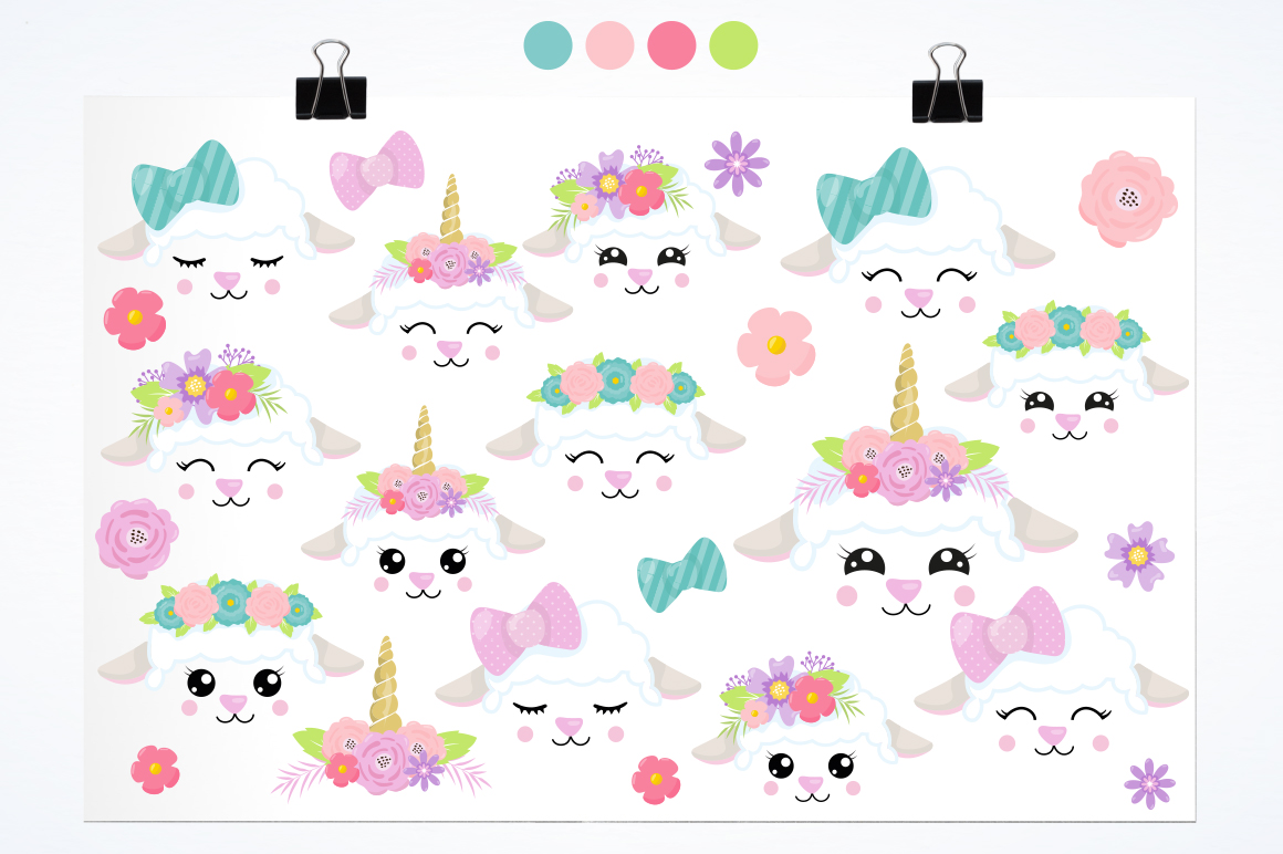 Kawaii Spring Lambs graphic and illustrations example image 2