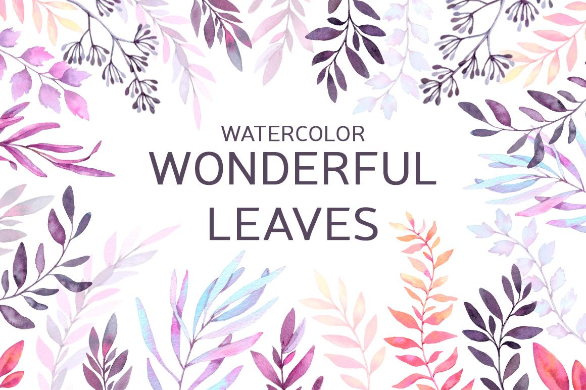 Watercolor wonderful leaves. Violet example image 1