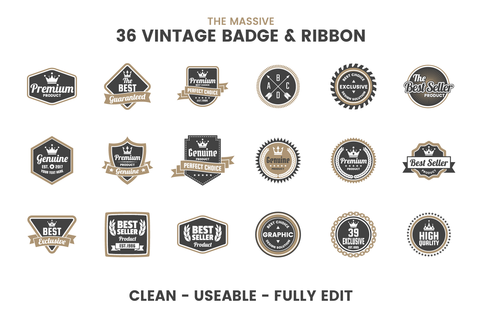 36 VINTAGE BADGE & RIBBON Vol.6 example image 6