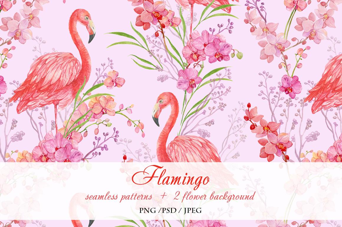Flamingo seamless patterns example image 4