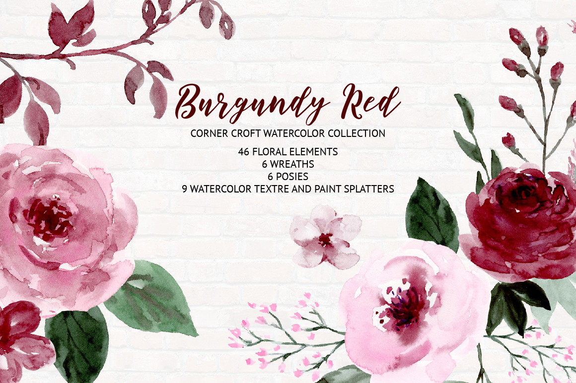Watercolor Collection Burgundy Red example image 9