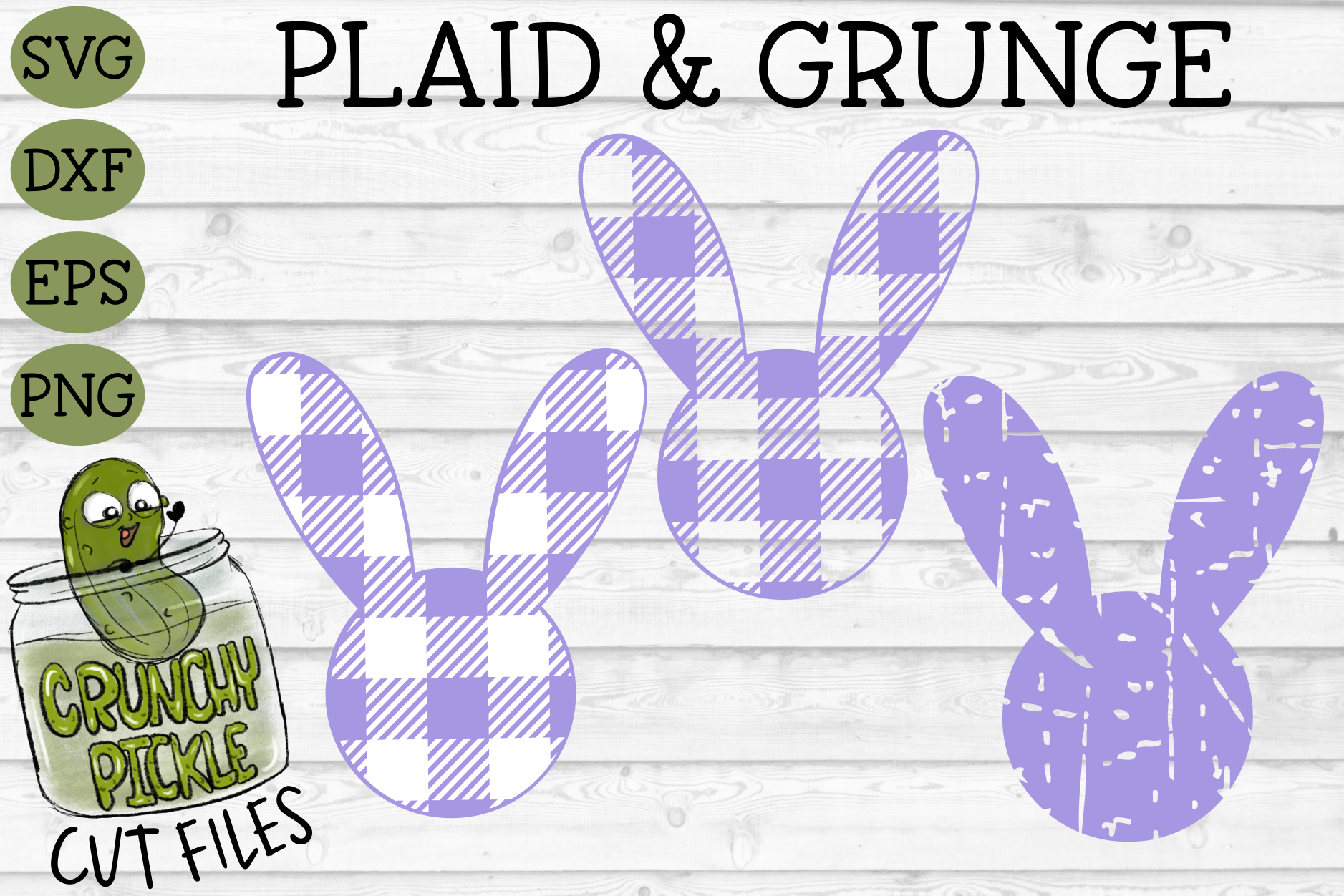 Plaid & Grunge Spring Easter Bunny 2 SVG Cut File example image 1
