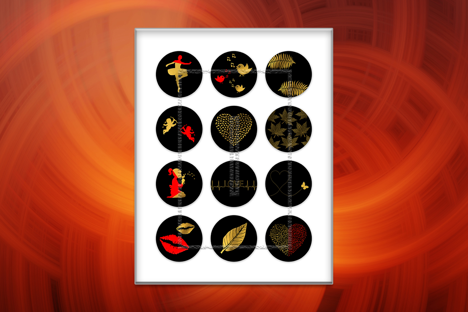 Minimalist Digital Collage Sheet,Red Images,Gold Printable example image 2