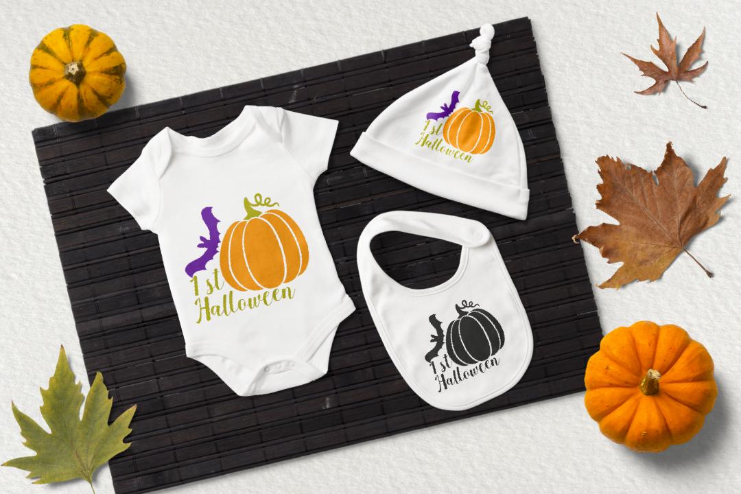1st Halloween svg. Pumpkin and bat clipart example image 2