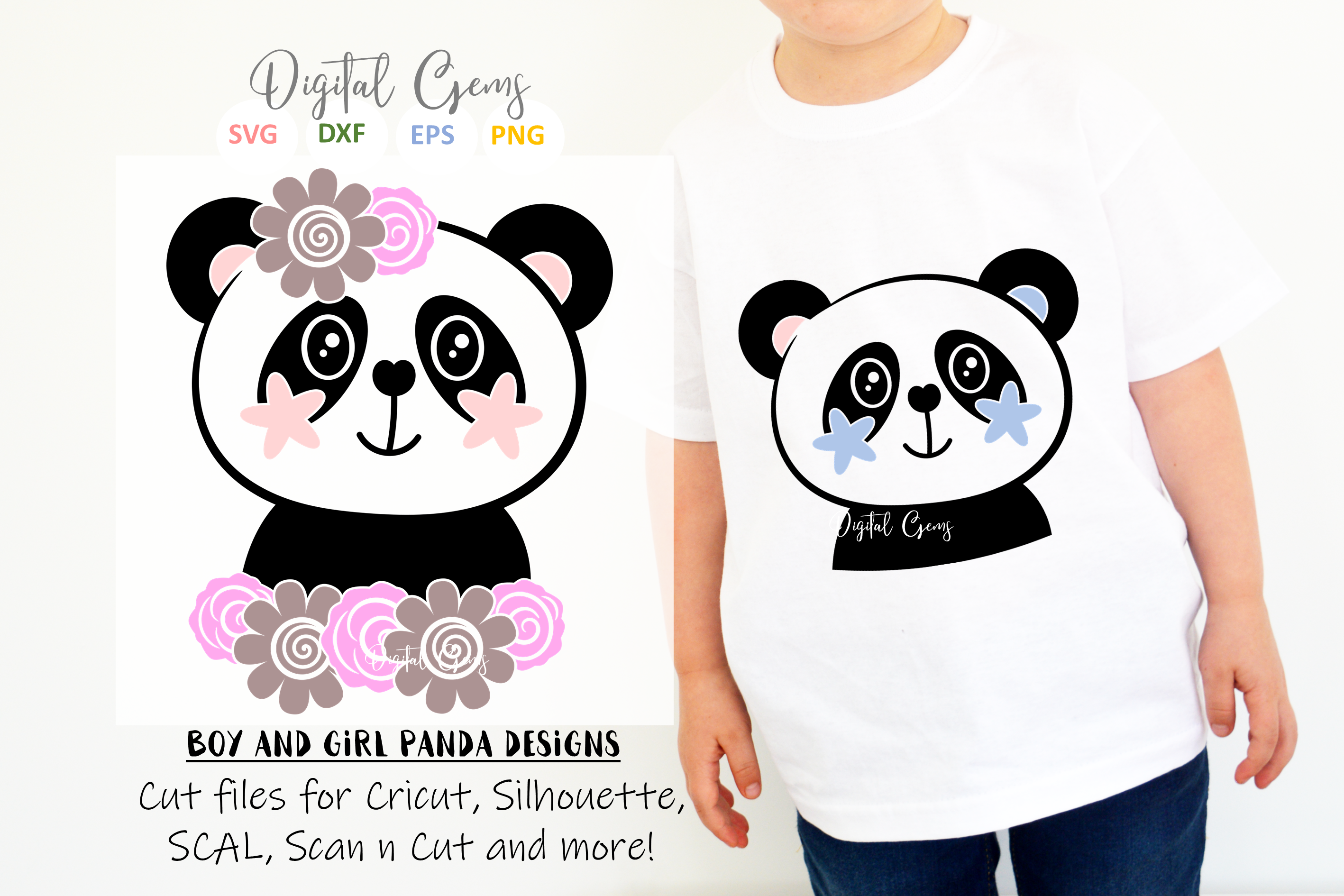 Panda designs. SVG / PNG / EPS / DXF Files example image 1