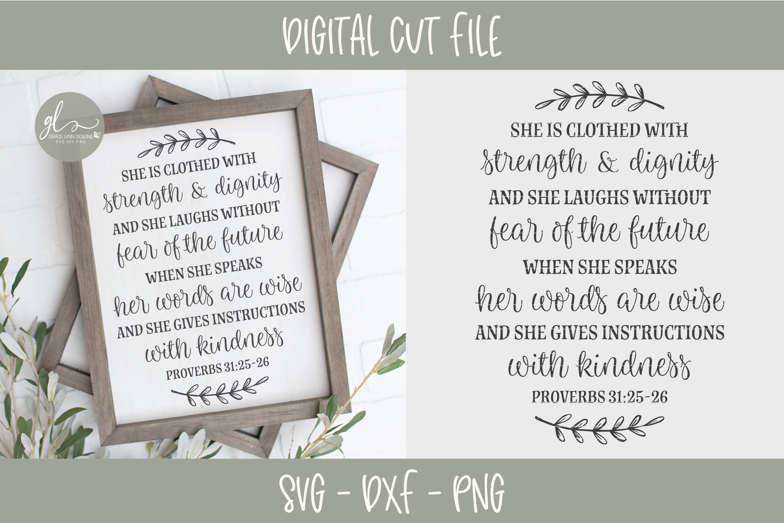 She Is Clothed With Strength & Dignity - Scripture SVG example image 1