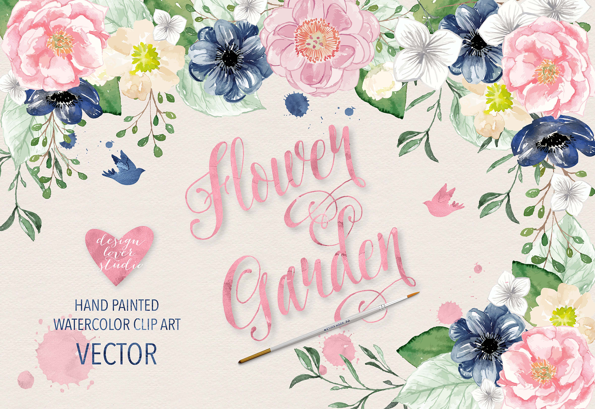 vector watercolor navy blue and pink flower garden clipart example image 1 - Garden Clipart