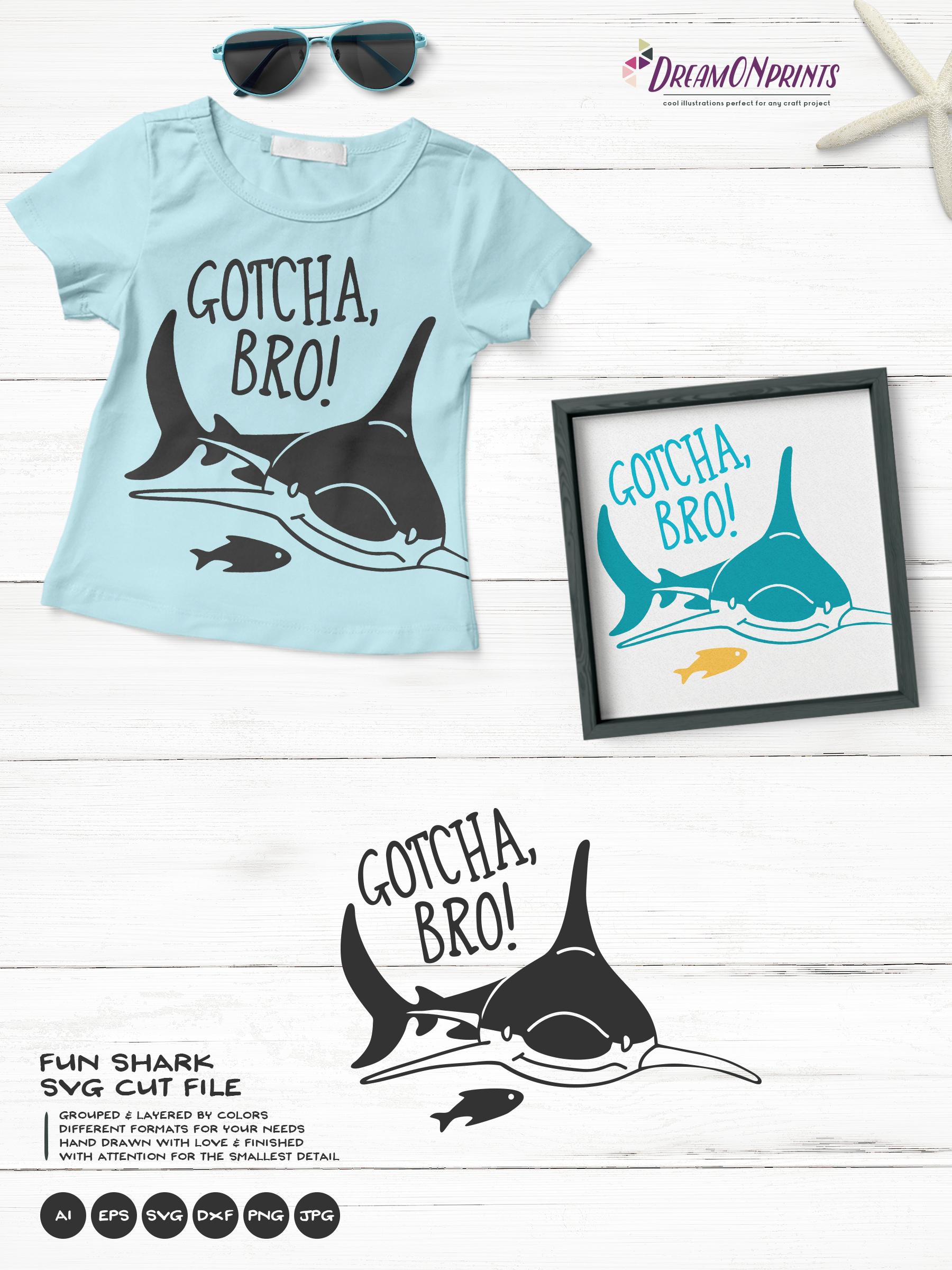 Gotcha, BRO! | Fun Shark SVG | Funny Shark and Fish example image 3