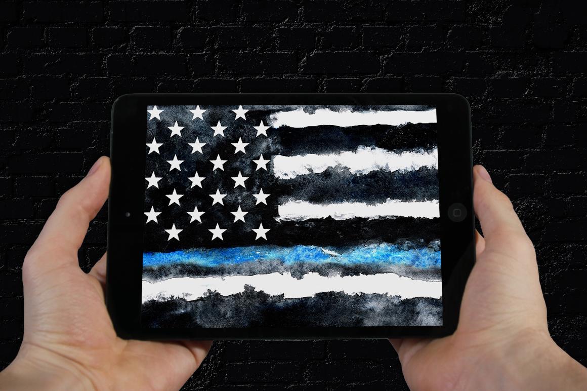 Police flag USA. Watercolor. example image 5