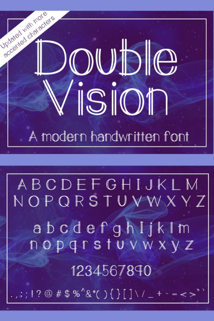 Double Vision- A modern handwritten print font example image 7