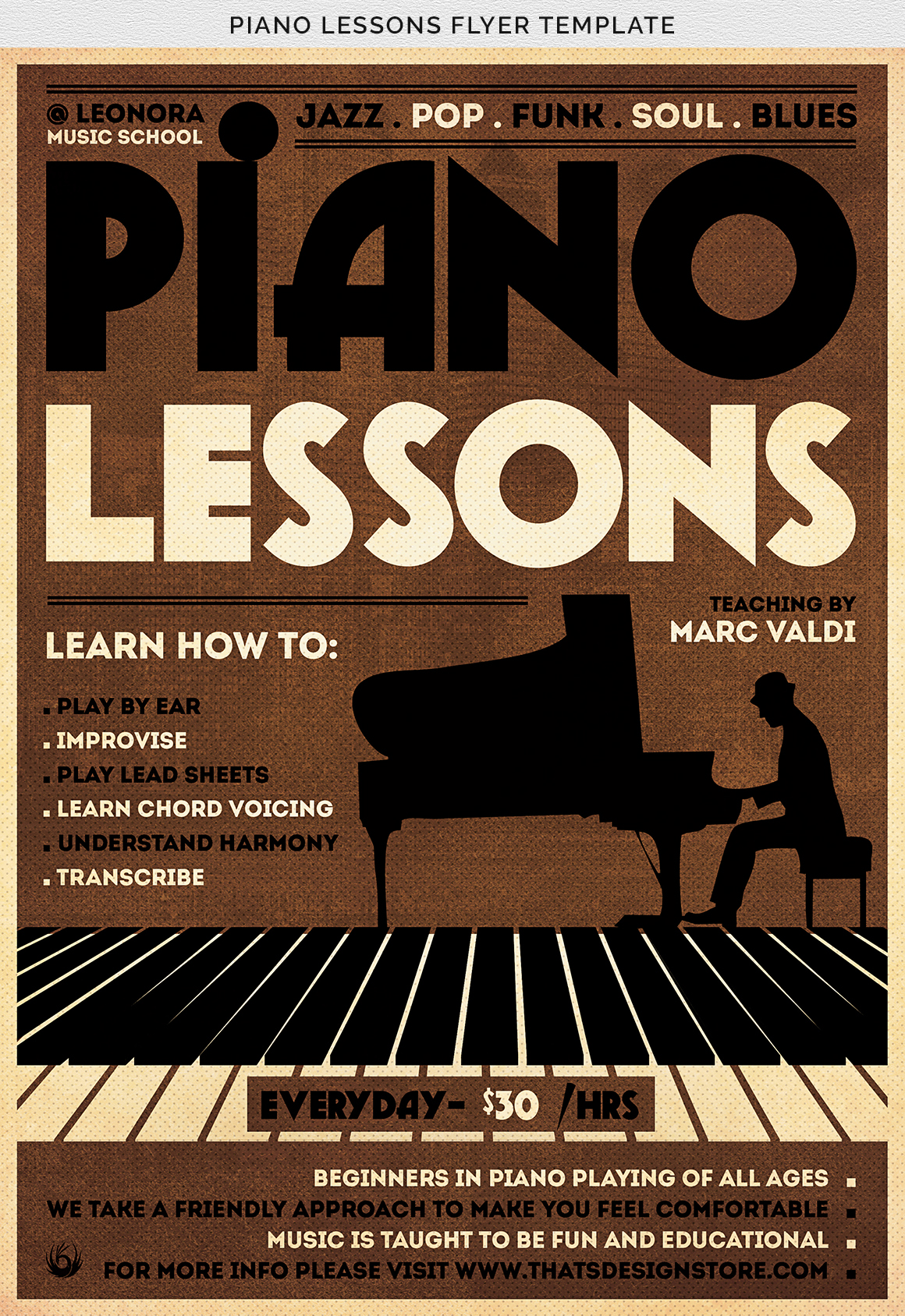 Piano Lessons Flyer Template example image 10