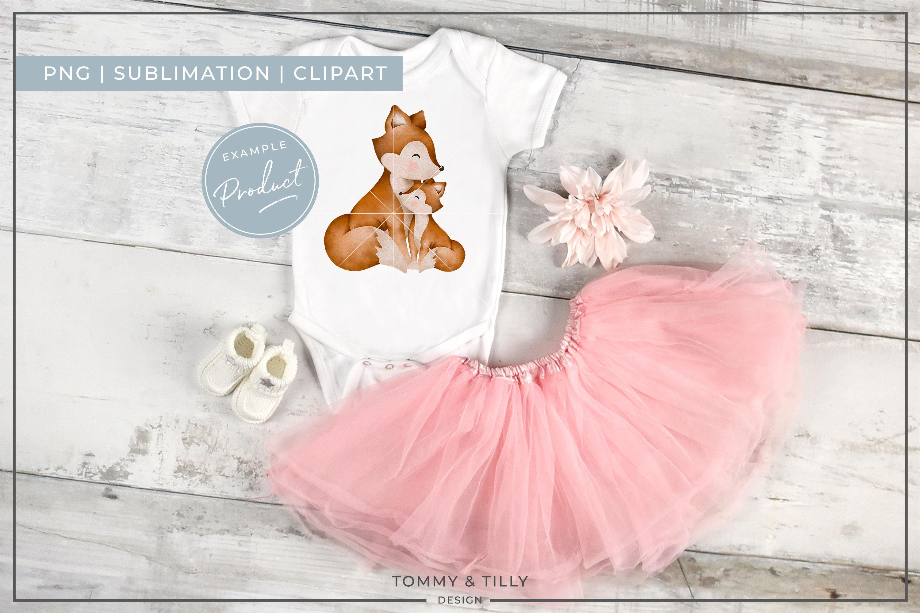 Mummy and Baby Fox - Sublimation PNG Clipart example image 2