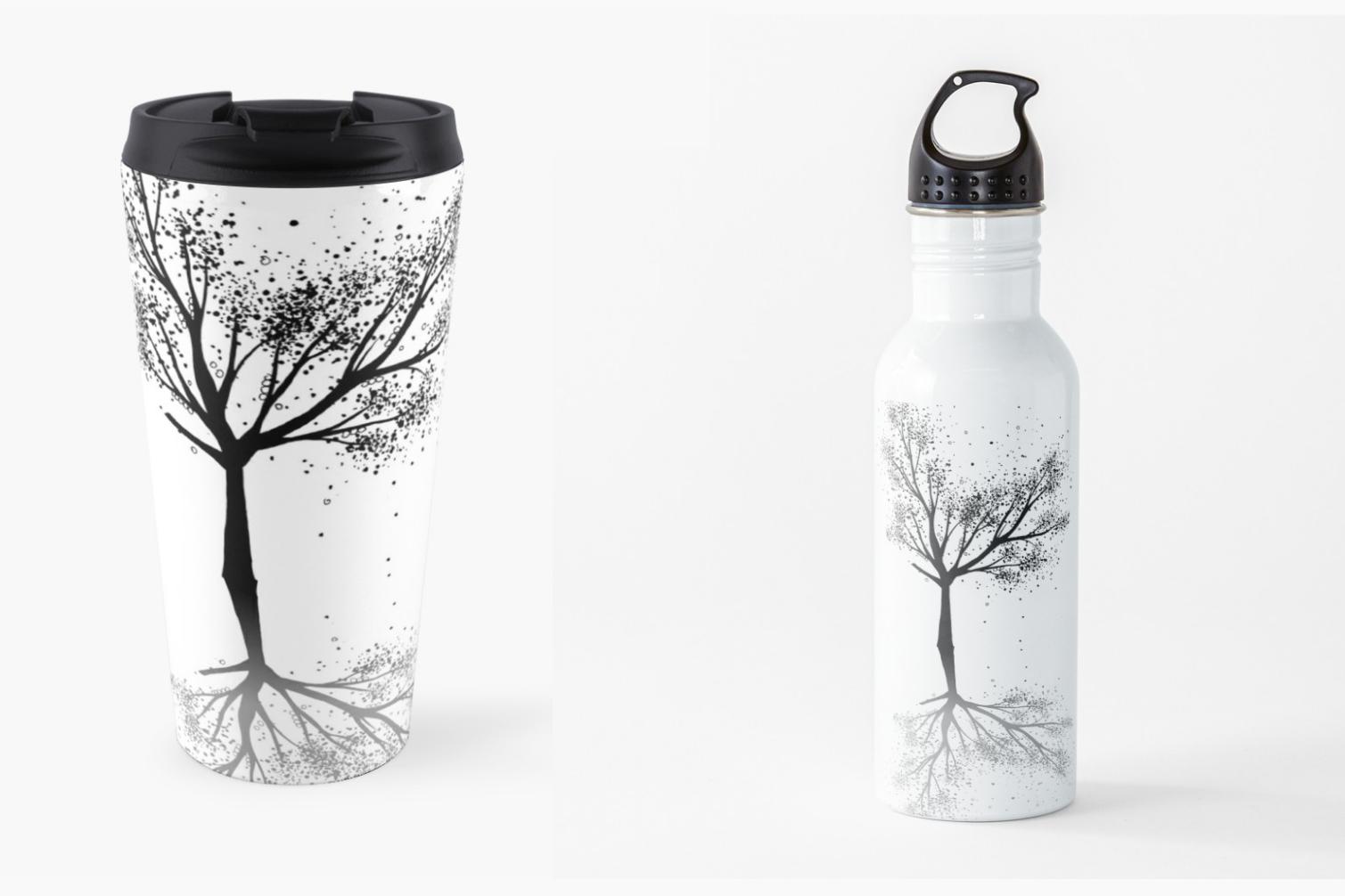 Black Tree Ink Art, A1, SVG example image 1