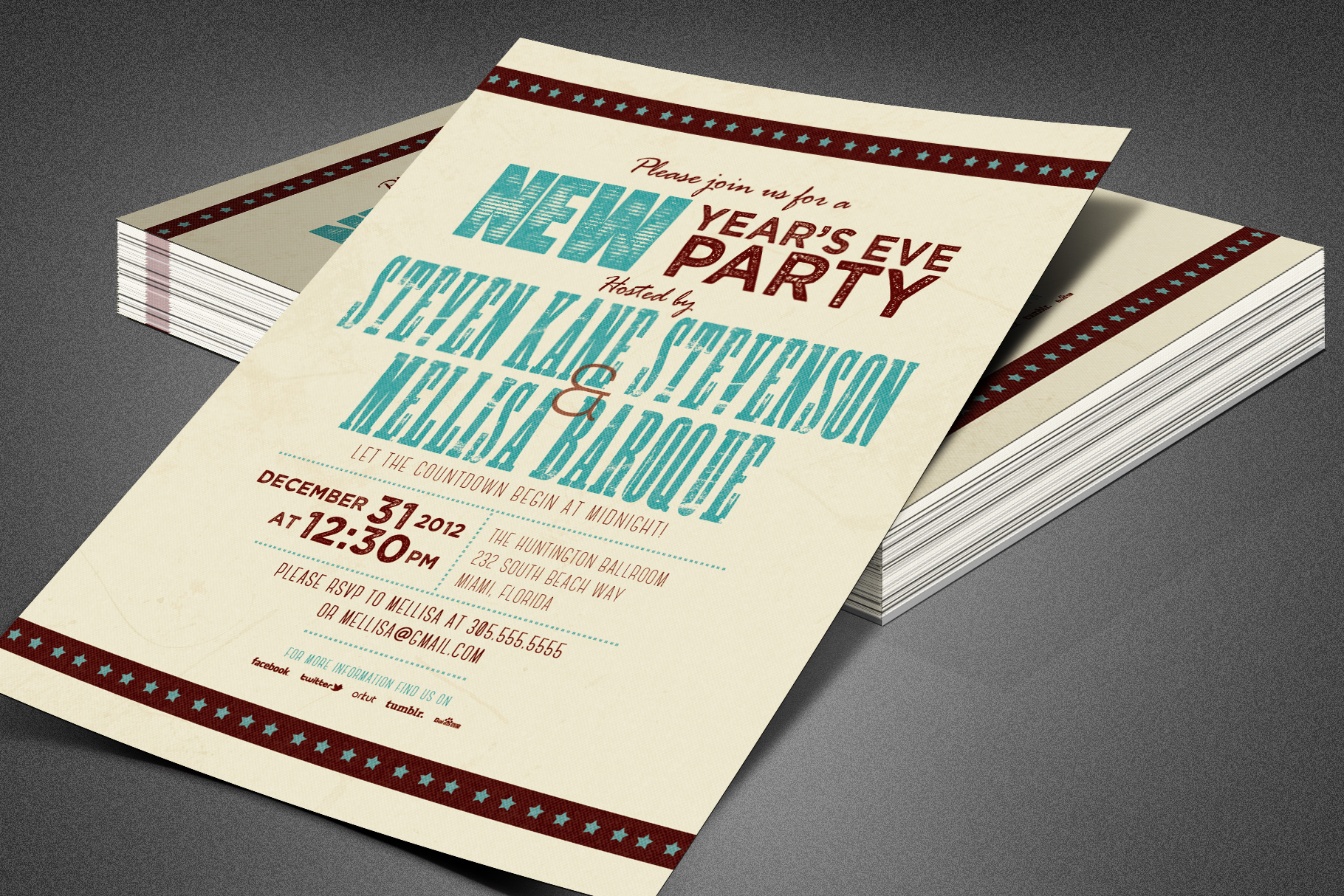 Retro New Year Party Invite Card Template example image 4