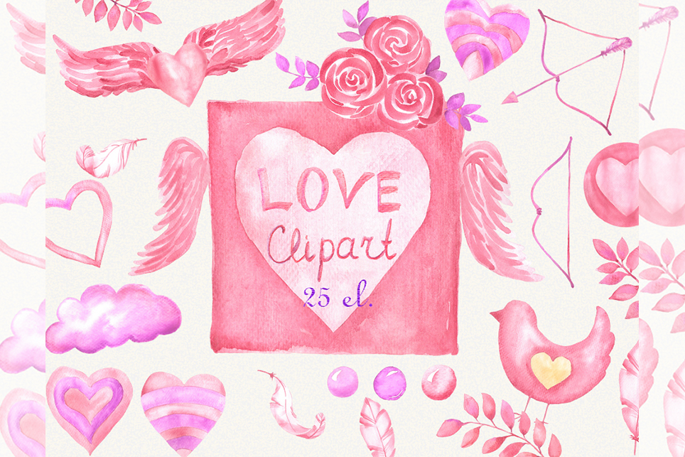 Love clipart, heart clipart, watercolor heart clipart example image 1