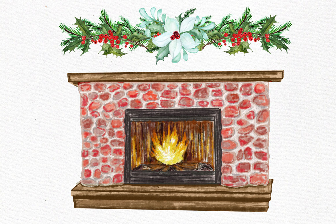 Christmas Girls Clipart, Fireplace and Stockings, Ornaments example image 8