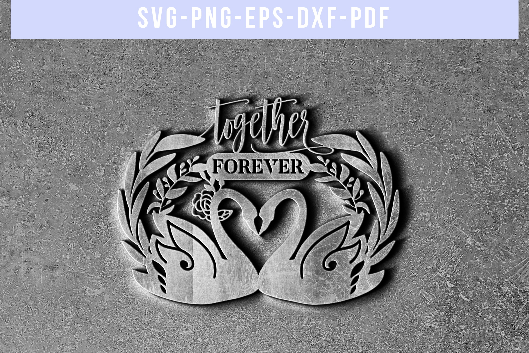 Together Forever Papercut Template, Swan Couple SVG, DXF PDF example image 5