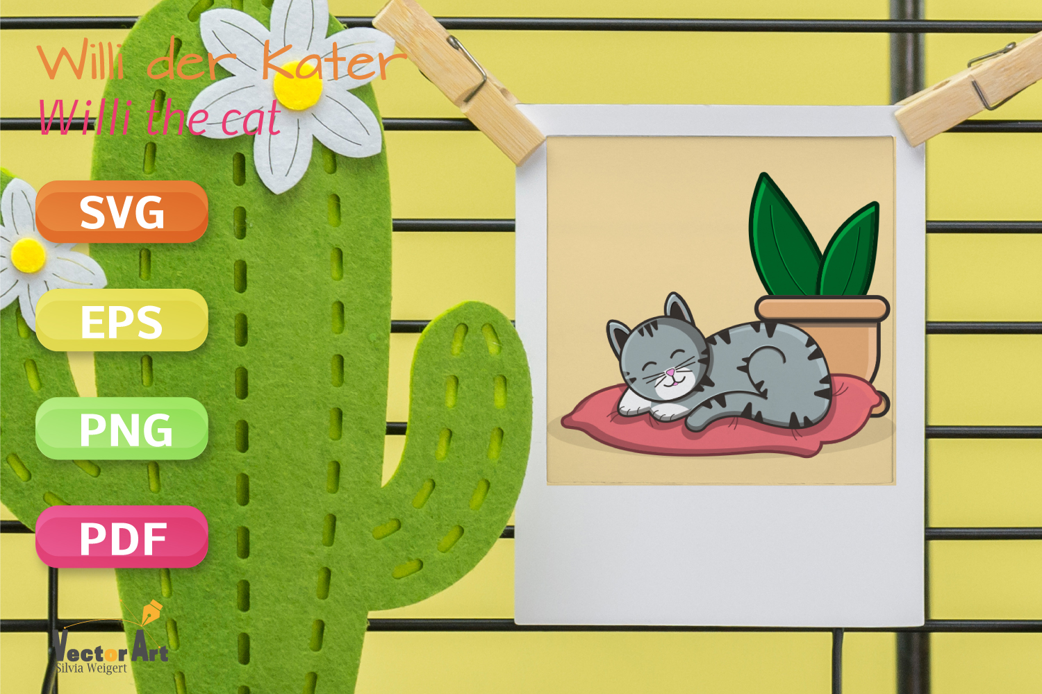 Sleeping Cat on Pillow with Succulent - File for Crafters example image 3