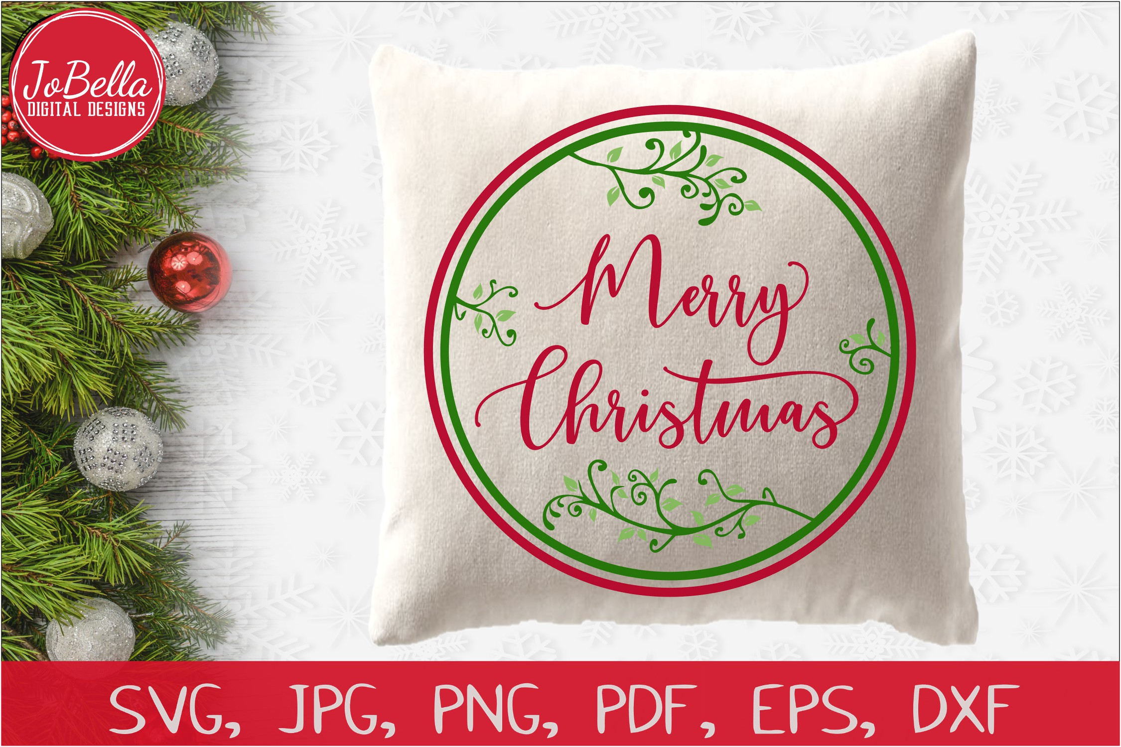 Round Vines Merry Christmas SVG Printable & Sublimation PNG example image 2