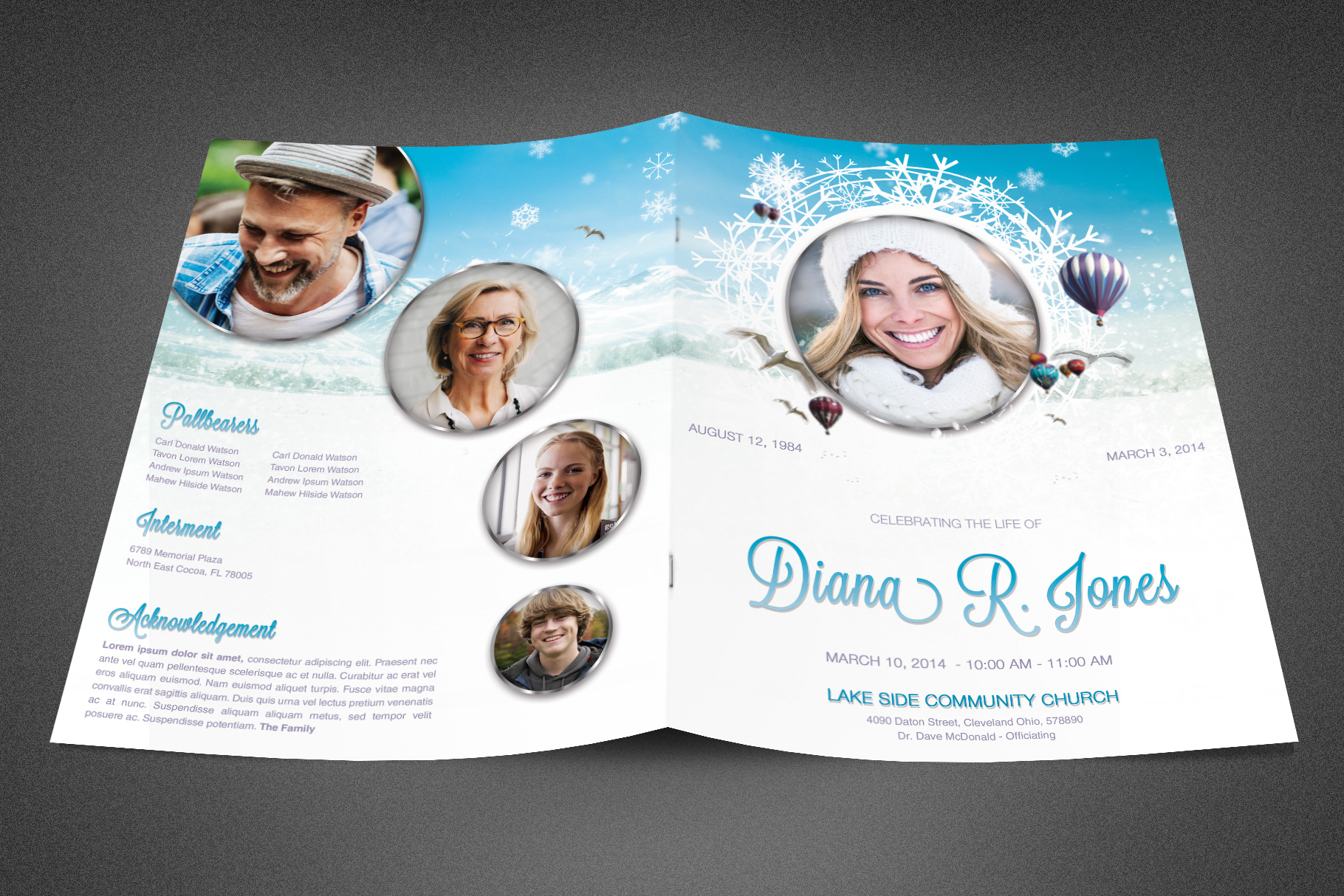 Winter Goodbye Funeral Program example image 2
