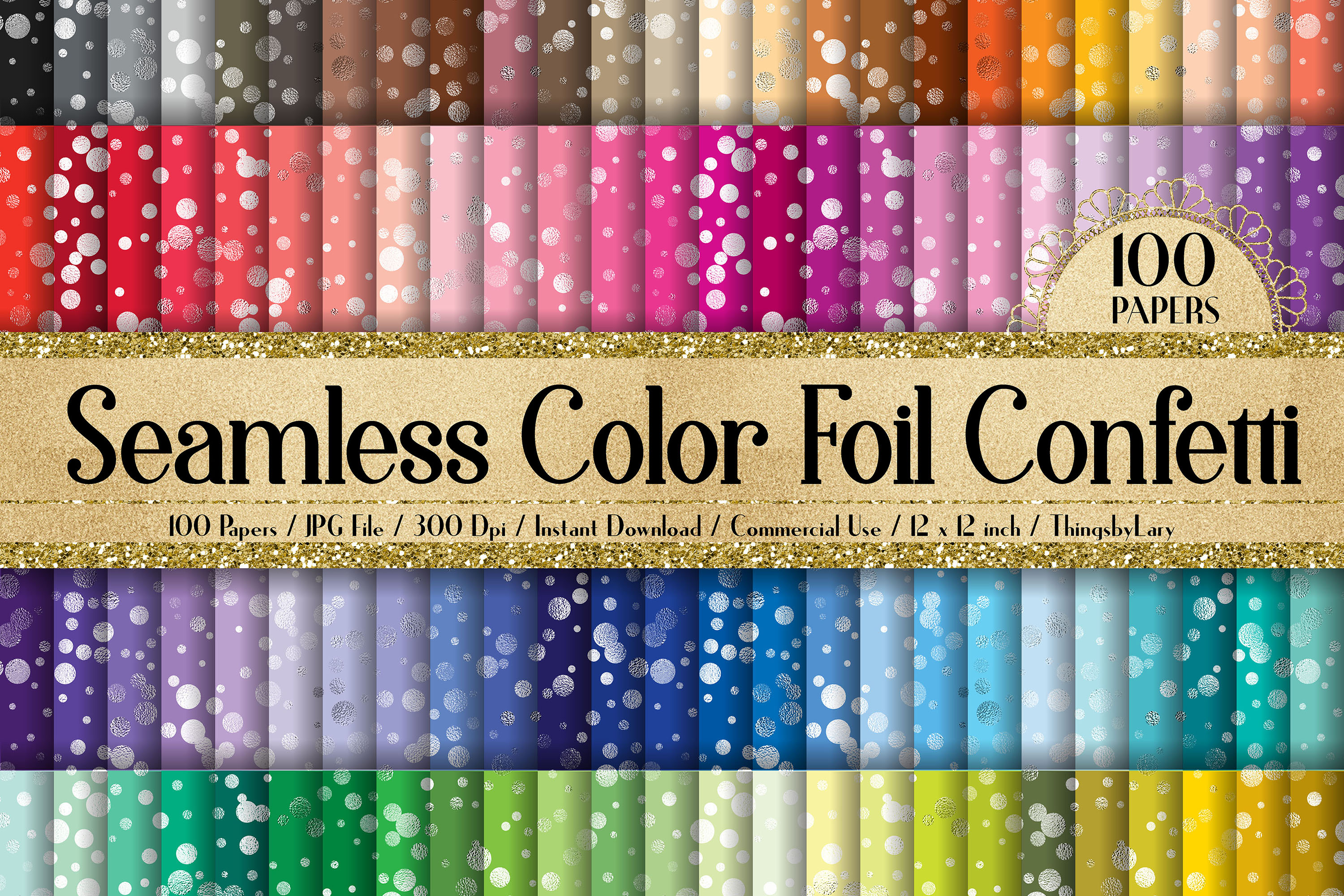 100 Seamless Color Metallic Foil Confetti Digital Papers example image 1