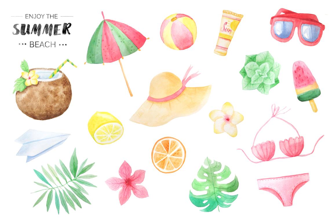 Watercolor Beach Set example image 3