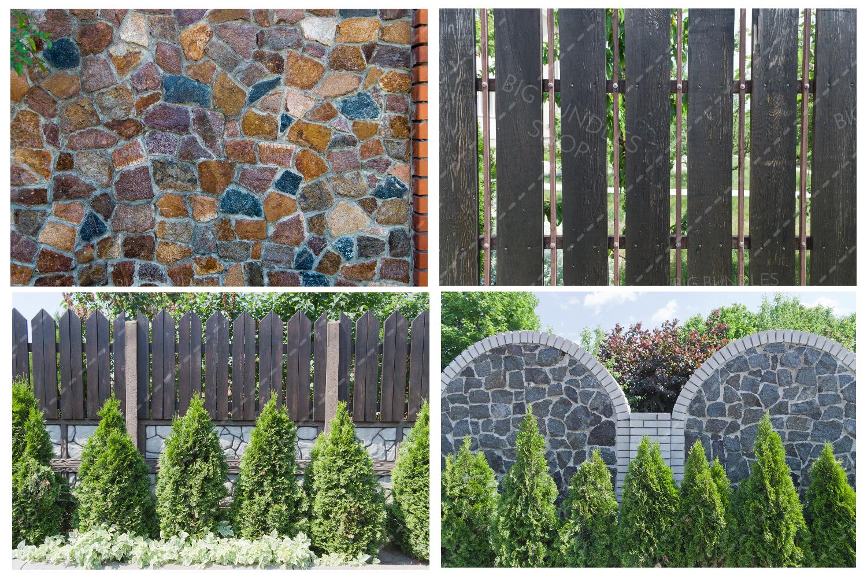 Bricks, fence and greenery example image 8