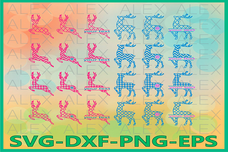 Deer SVG Files, Deer Monogram Svg Files, Deer Split-monogram example image 1