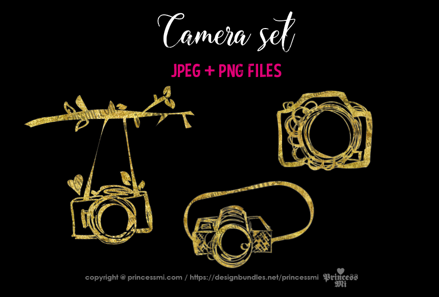 Gold camera clipart set 2 example image 2