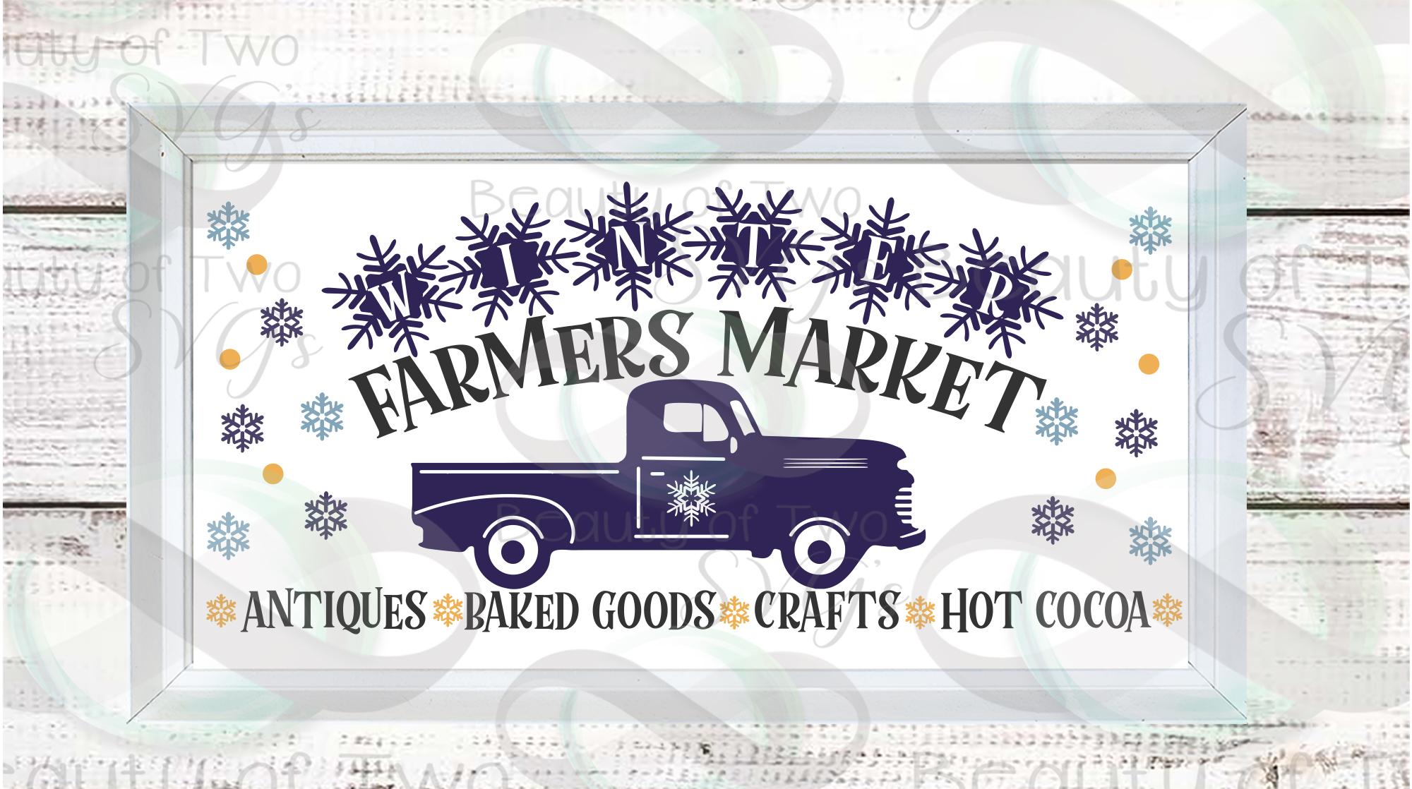 Farmhouse Hello Winter svg Sign Design bundle, 6 svg designs example image 3