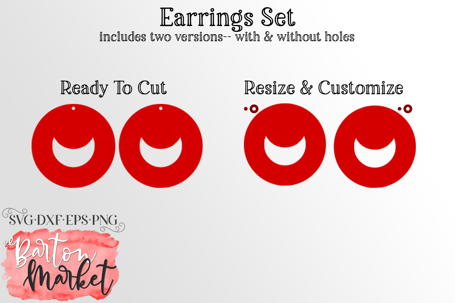 Earrings Set Circles With Moon SVG DXF EPS PNG example image 2