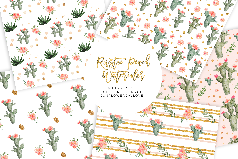 Watercolor Cactus Succulents, Digital Paper Pattern Pack example image 2