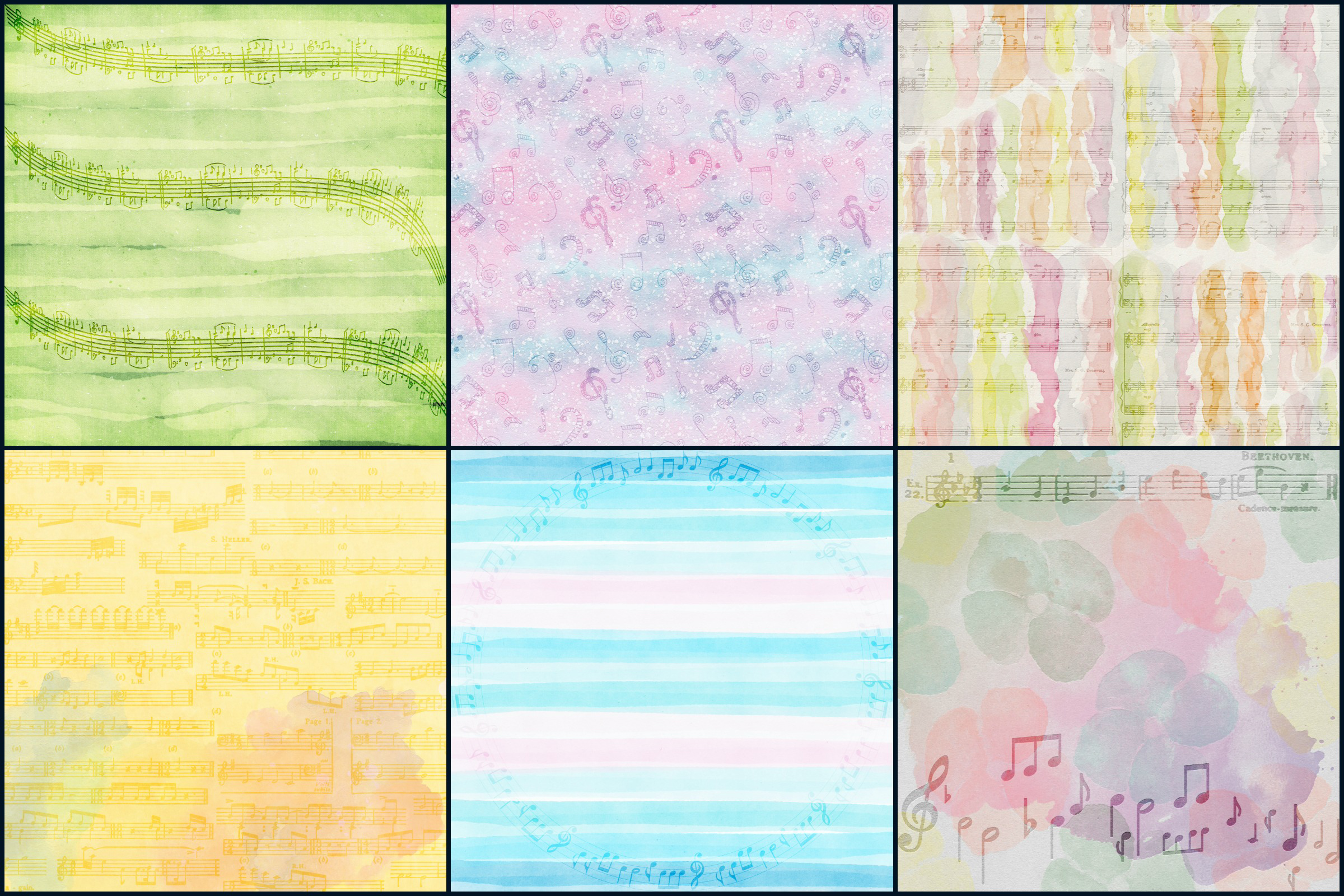Watercolor Whimsical Musical Notes Digital Papers example image 2