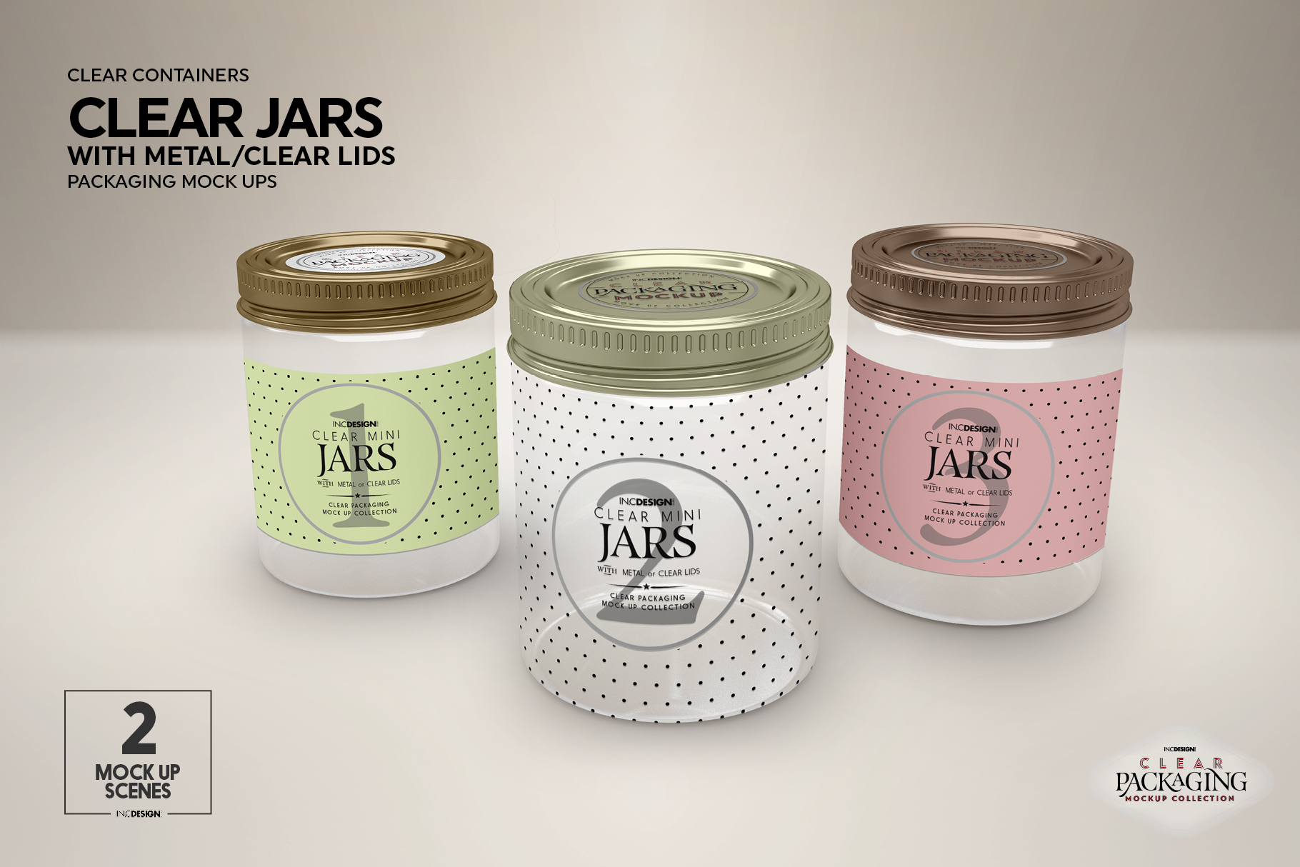 Clear Jars with Metal /Clear Lids Mockup example image 4