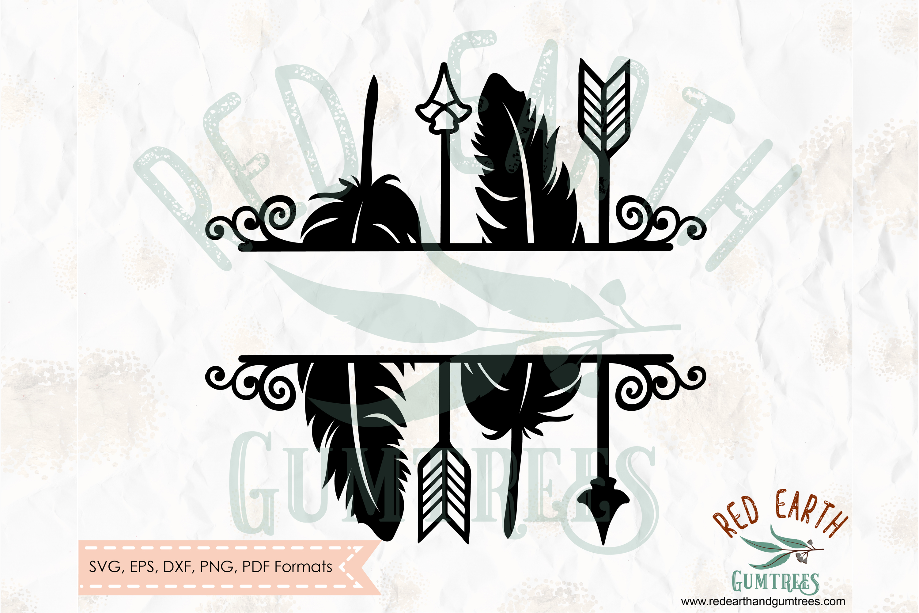 Arrows and feathers split monogram frame in SVG,DXF,PNG,EPS example image 1
