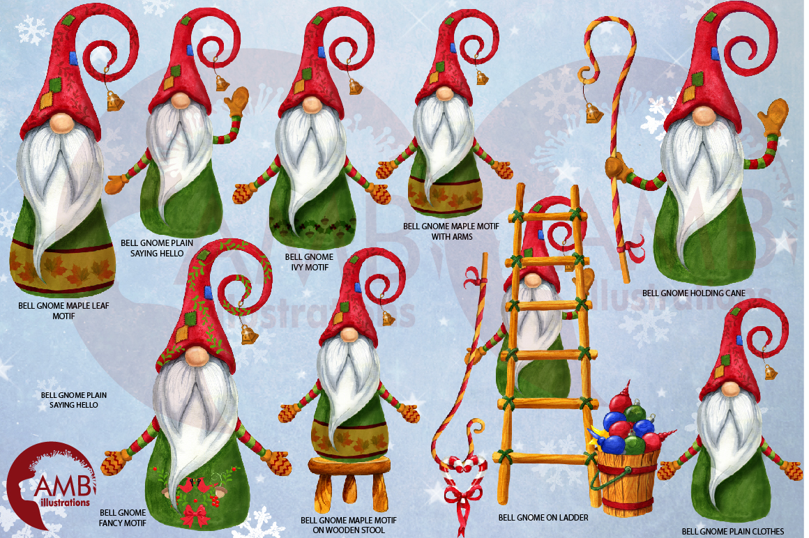 Christmas Gnomes, Scandinavian Gnomes, Watercolour Gnomes, example image 5
