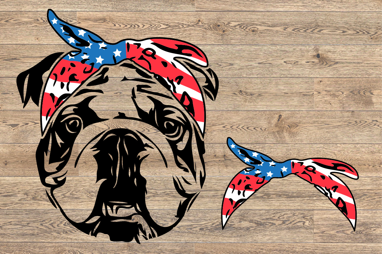 Bulldog USA Bandana Head French Dog 4th July 1376S example image 2