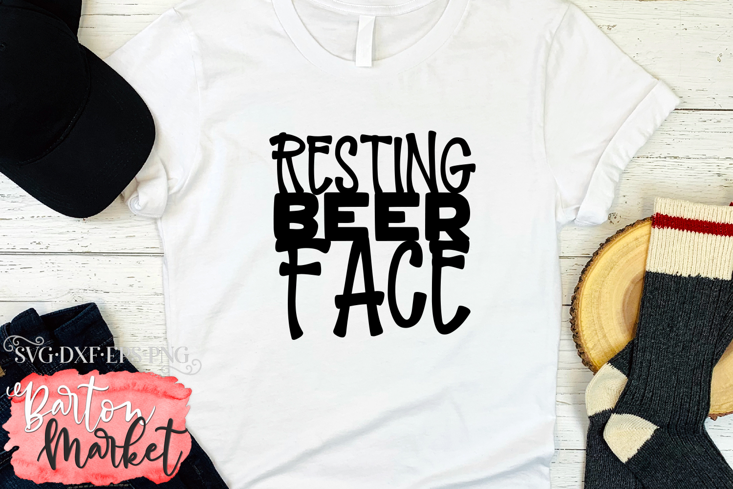 Resting Beer Face SVG DXF EPS PNG example image 2