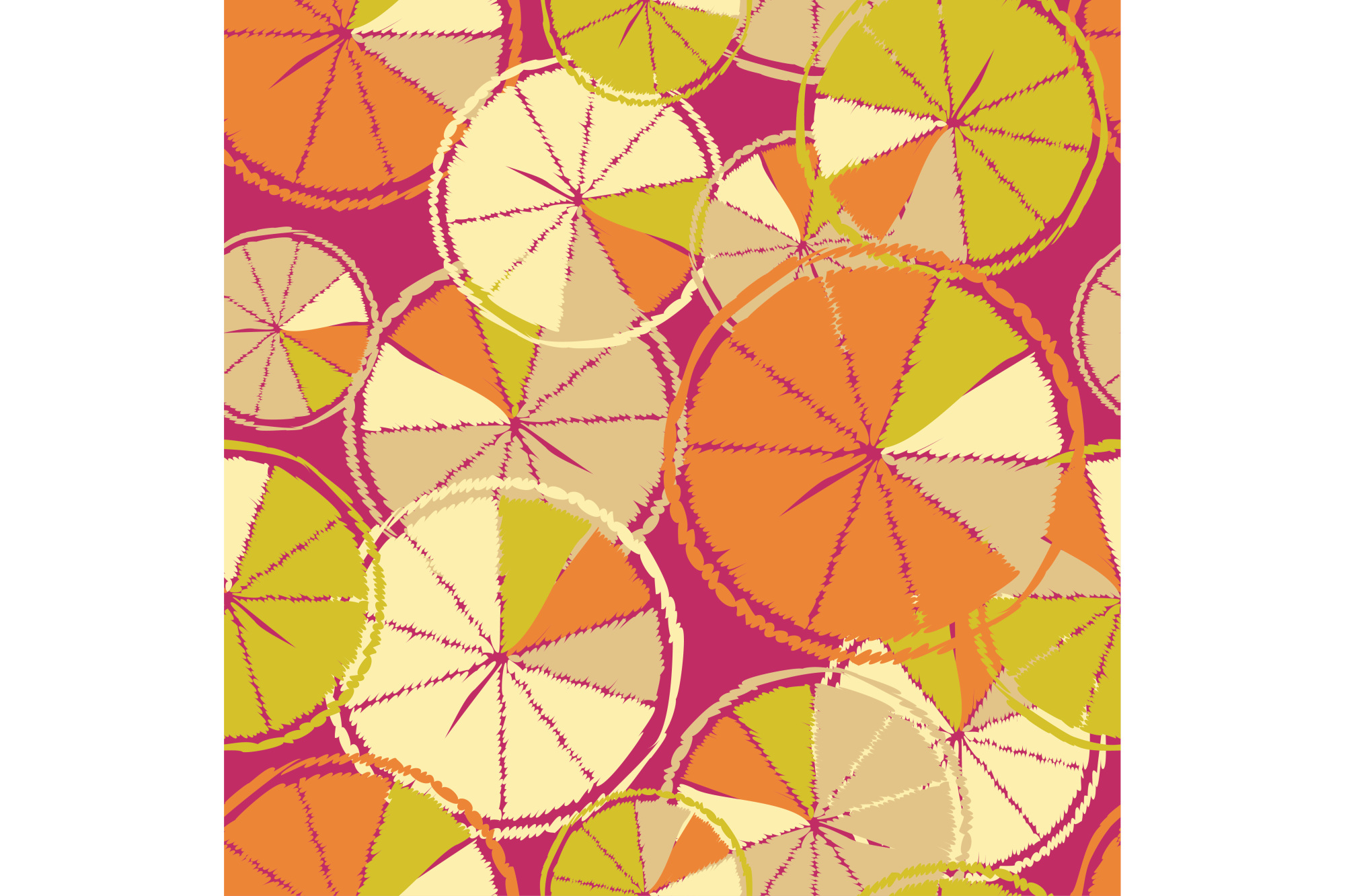 Ethnic boho seamless pattern with decorative oranges. Tropical fruits. example image 1